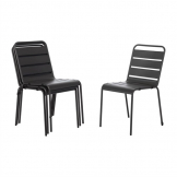 Bolero Grey Slatted Steel Side Chairs (Pack of 4)