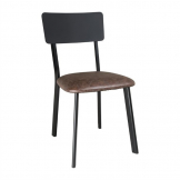 Bolero Metal & PU Side Chair Vintage Mocha (Pack of 4)