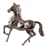 Large Silver Metal Horse Ornament, 39cm Tall
