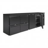 Polar U-Series Double Door Back Bar Counter Fridge with Drawers