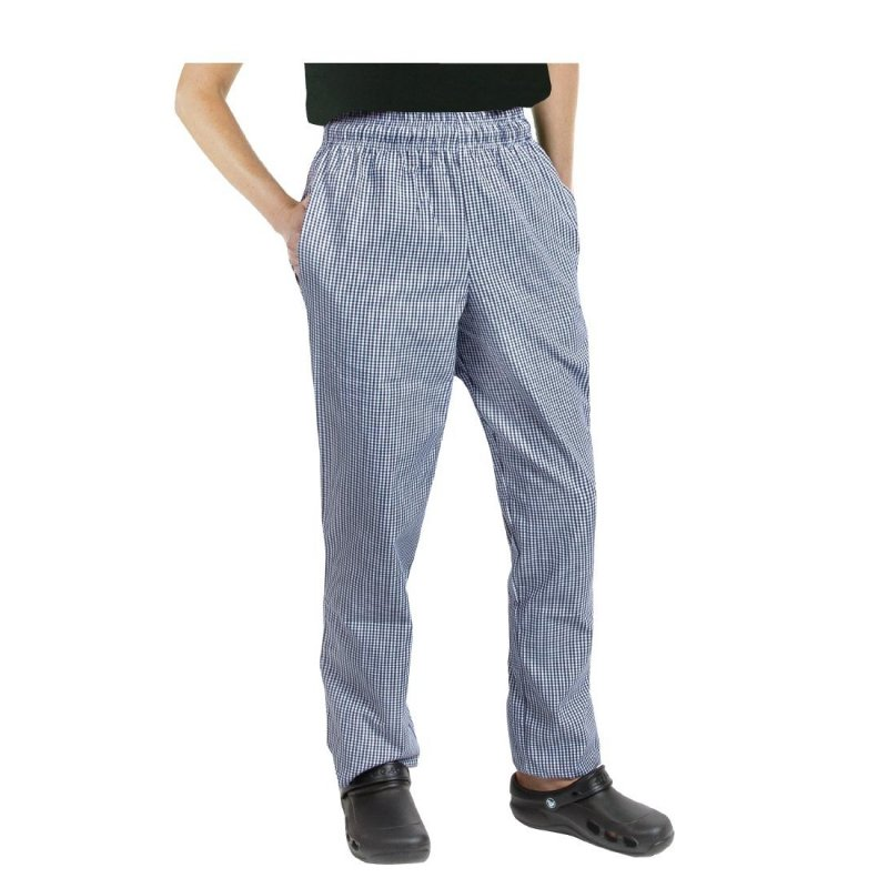Chef Works Unisex Easyfit Chefs Trousers Small Blue Check M
