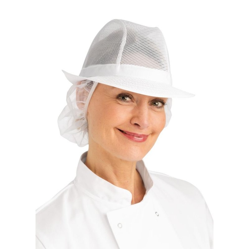 Trilby Hat with Net Snood White S