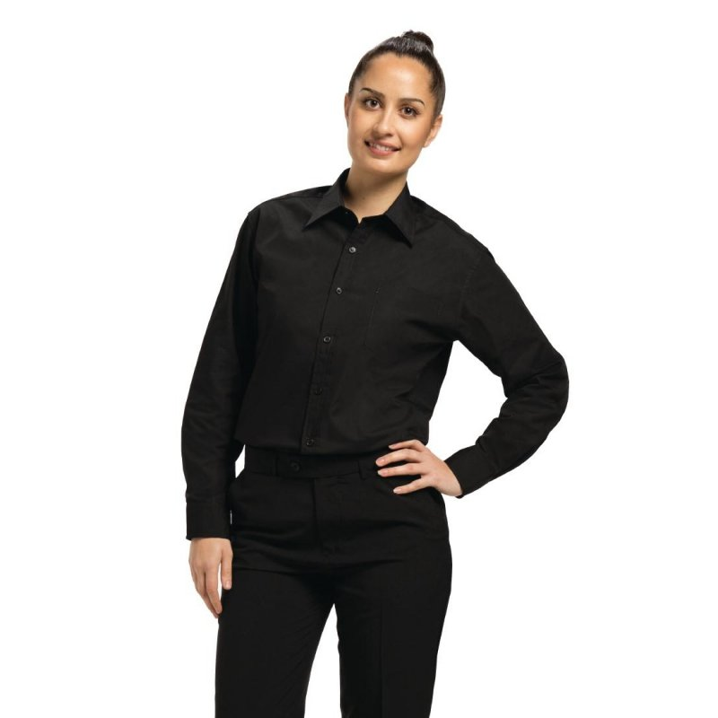 Chef Works Unisex Long Sleeve Dress Shirt Black L