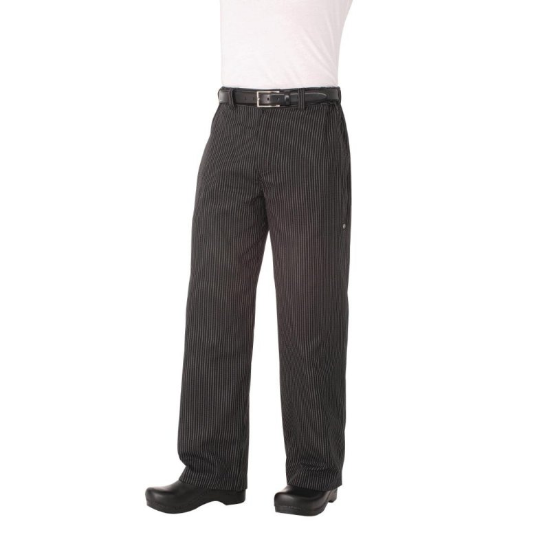 Chef Works Unisex Professional Series Chefs Trousers Grey Herringbone Stripe XL