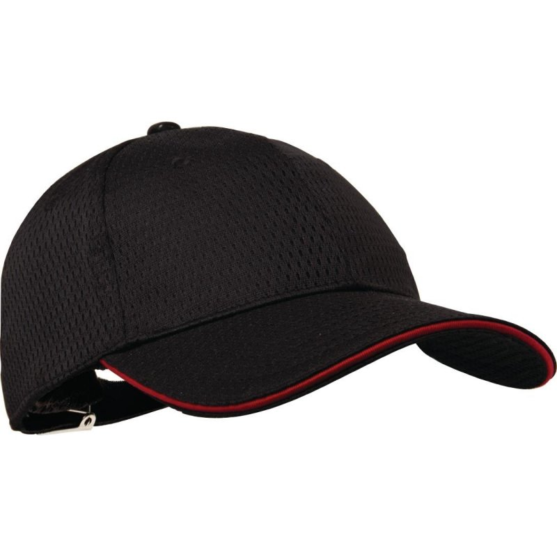 Chef Works Cool Vent Baseball Cap Black with Red
