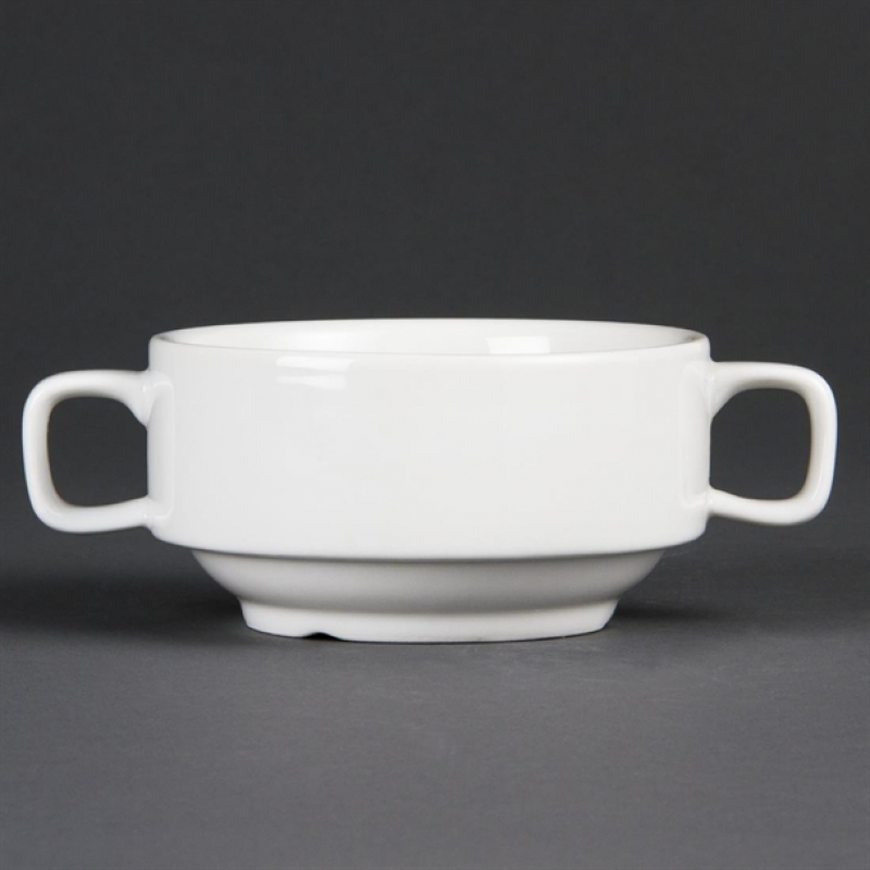 Olympia Whiteware Soup Bowls With Handles 400ml (Pack of 6)