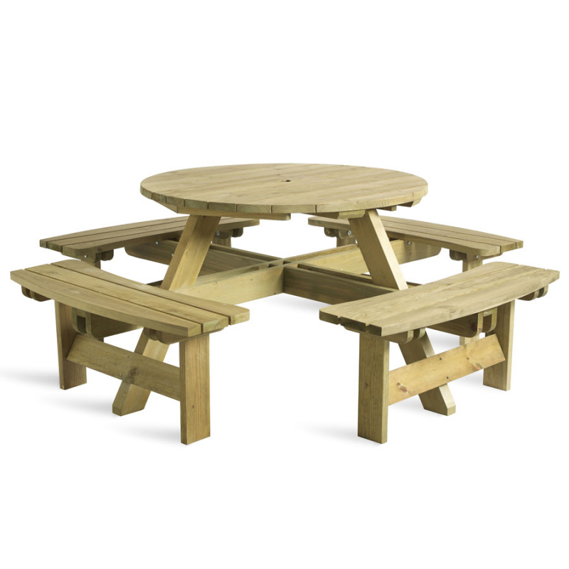 King Round Picnic Table 8 Seater, Rowlinson Round Picnic Table
