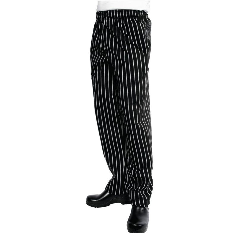 Chef Works Unisex Easyfit Chefs Trousers Black and White Striped XL
