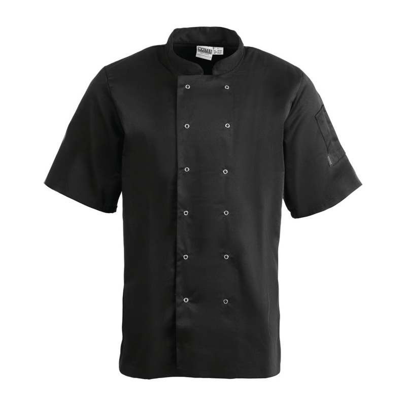 Whites Vegas Unisex Chef Jacket Short Sleeve Black - S