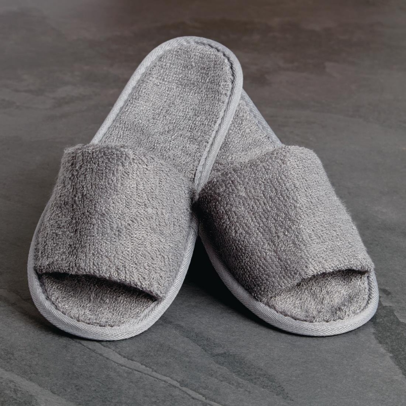 Luxury Curzon Open Toe Slippers Grey