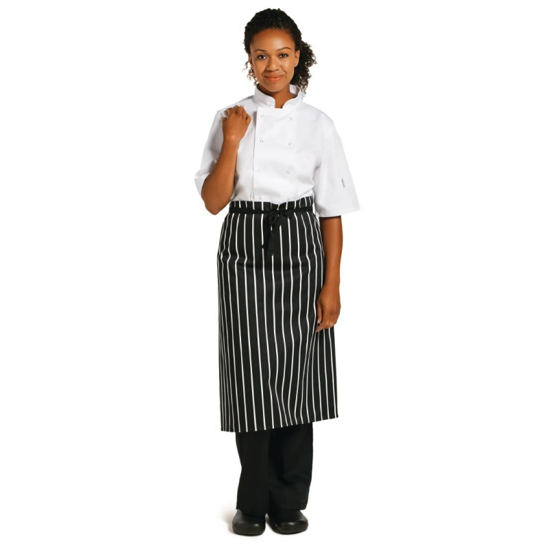 Whites Butchers  Waist Apron Black and White Stripe